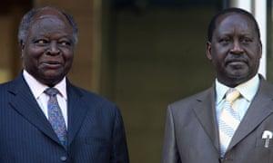 Kenyan president Mwai Kibaki, left, and the prime minister, Raila Odinga