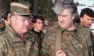 Ratko Mladic with Radovan Karadzic on Mt Vlasic in April 1995
