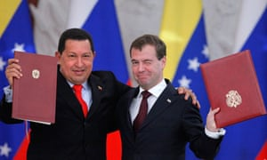Hugo Chavez, left, and his Russian counterpart Dmitry Medvedev