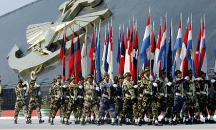 Burmese troops on parade