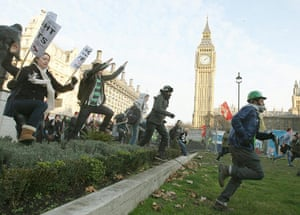 student protest update: Students demonstrators run into Parliament Square in Westminster, London