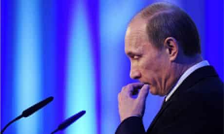Russian Prime Minister Vladimir Putin and blue flashing lights