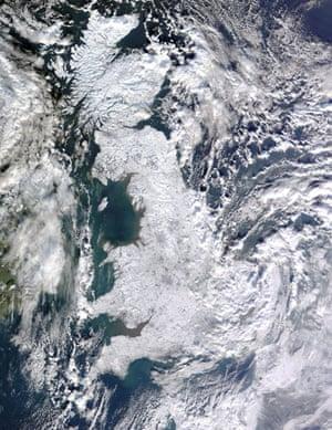 Satellite Eye on Earth: Snow blanketed Great Britain, UK
