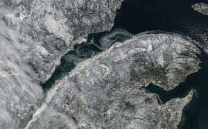 Satellite Eye on Earth: Sea ice fills the mouth of the St. Lawrence River, Quebec, Canada