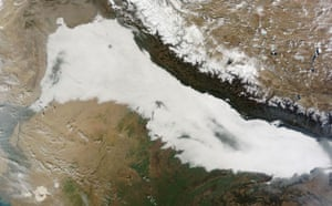 Satellite Eye on Earth: low clouds covered the foothills of the Himalaya mountains, India
