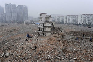 Eyewitness: A partially demolished home in China's Anhui province known as a nail house