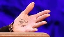 Sarah Palin's hand notes