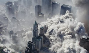 View from a helicopter as smoke and ash engulf lower Manhattan on 9/11.