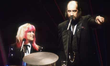 Samantha Fox joins forces with Mick Fleetwood to present The Brit Awards in 1989