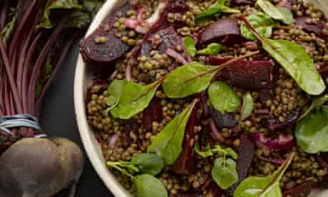 Candy beetroot with lentils and yuzu