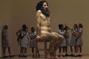 Eyewitness: School children look at Wild Man, a sculpture by Ron Mueck