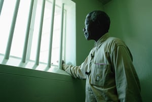 Mandela prison release: 1994: Nelson Mandela in his confinement cell