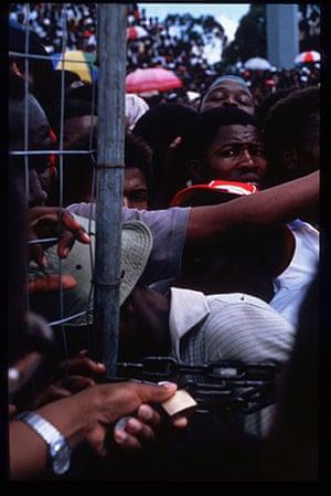 Mandela prison release: February 20 1990: Supporters of Nelson Mandela
