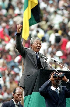 Mandela prison release: February 13 1990: Nelson Mandela gives the black power salute