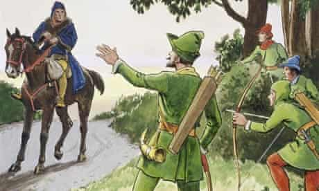 Illustration of Robin Hood and His Merry Men Stopping a Man on a Horse