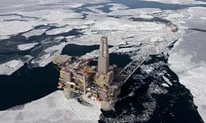 Oil and gas platform off Sakhalin Island, Sea of Okhotsk, Russia.