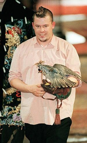 Alexander McQueen: 1997: Alexander McQueen carrying a falcon Givenchy 1997/98 Fall/Winter