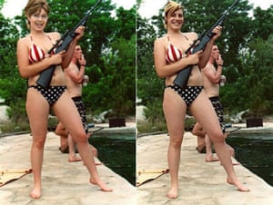 Photoshop at 20: Sarah Palin photomontage showing her in a bikini with a rifle photoshop