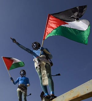 West Bank demonstration: Demonstrators dressed as characters from the film Avatar