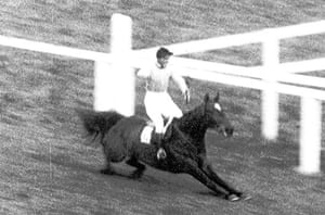 Dick Francis: 1956: Devon Loch is well clear of the field when he jumps a phantom fence