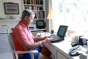 Dick Francis: 1998: Dick Francis writing at his home in Grand Cayman