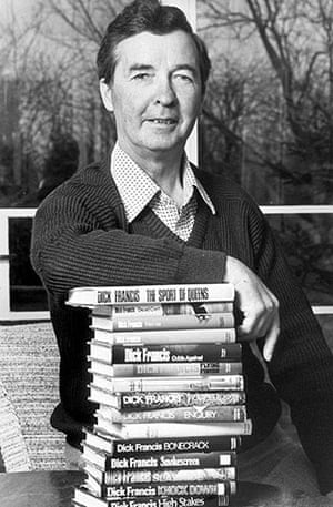 Dick Francis: 1976: Dick Francis with copies of his books