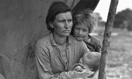 A migrant agricultural worker's wife and children in a California camp during the Great Depression