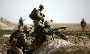 Marines come under Taliban sniper fire on the northeast of Marjah, Afghanistan.