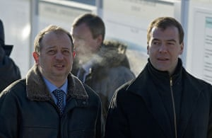 Russian oligarchs: Vladimir Lisin, left, with Russian President Dmitry Medvedev