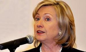 Hillary Clinton speaking in Doha