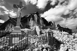 Haiti Exhibit Sale: The runied Sacre Coeur church in Port-Au-Prince, Haiti