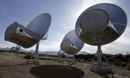 Radio telescopes in the Allen Telescope Array in Hat Creek, California.