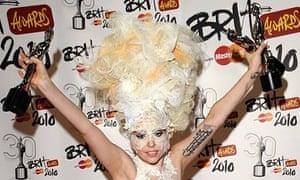 Lady Gaga with her three Brit awards