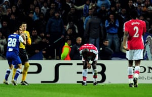 Wed Champions League: Sol Campbell looks on after giving away an indirect free kick