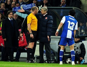 Wed Champions League: Arsene Wenger remonstrates with referee Martin Hansson about the decision