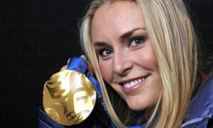 Lindsey Vonn with her gold medal at the Vancouver 2010 Winter Olympics
