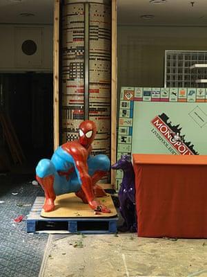 Lewis's fifth floor: Spiderman sculpture