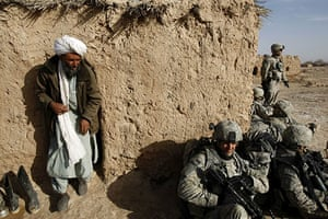 Operation Moshtarak: An Afghan man comes out of the building Helmand province, Afghanistan