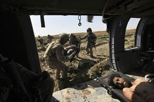 Operation Moshtarak: medical evacuation to helicopter Marjah, Helmand province, Afghanistan