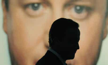 David Cameron at the launch of oneof this year's Tory poster campaigns