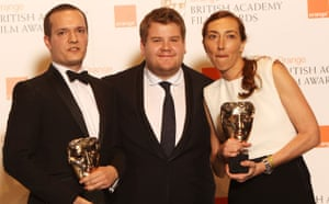 Baftas 2010: winners: Batfas 2010: James Bolton, James Corden and Martina Amati