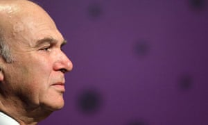 Liberal Democrat treasury spokesman Vince Cable addresses an audience at Thomson Reuters in London
