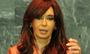 The Argentinian president, Cristina Kirchner, at the UN general assembly in September 2009.
