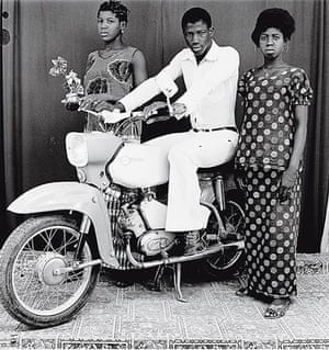 Malick Sidibé Gallery: Flowers And A Motorcycle, 1975
