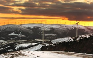 Wind Energy: Eolic park and snowy landscape, Galicia, Spain