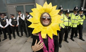 Climate campaigners block the entrance to the London headquarters of the Royal Bank of Scotland