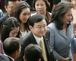 Thaksin Shinawatra: 31 July 2008: Thaksin Shinawatra with his wife Pojaman Shinawatra