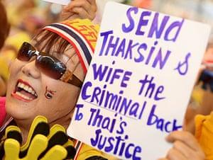 Thaksin Shinawatra: 21 October 2008: An anti-government protester shouts slogans