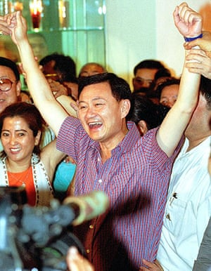 Thaksin Shinawatra: 6 January 2001: Thaksin Shinawatra and members of his party celebrate