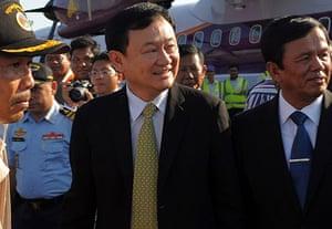 Thaksin Shinawatra: November 12 2009: Thaksin Shinawatra upon his arrival at Siem Reap airport